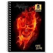 Caderno Espiral 3D Fire Skull 96 Folhas 3D Editora