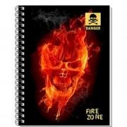 Caderno Espiral Pequeno 3D Fire Skull 96 Folhas 3D Editora