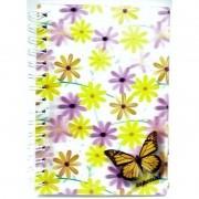 Caderno Espiral Pequeno 3D Floral 96 Folhas 3D Editora