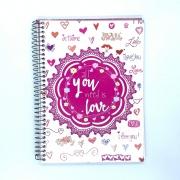 Caderno Espiral Universitário Love 96 Folhas Máxima