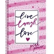 Caderno Espiral Universitário Pink Power 96 Folhas Foroni