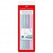 Caneta Fine Pen 0.4 Mm Tons Pastel 4 Cores Faber Castell
