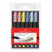 Caneta Supersoft BrushPen 6 Tons Pastel Faber Castell