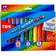 Canetinha Hidrocor Mega Hidro Color Jumbo 12 Cores Tris