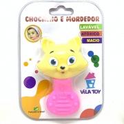 Chocalho E Mordedor Gata Rosa 100 321 VilaToys