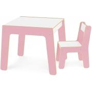 Conjunto Mesa Mais Cadeira Infantil Rosa 990 Junges
