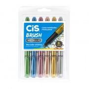 Estojo Marcador Artístico Pincel Brush Metallic 6 Cores Cis