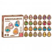 Jogo Da Memória Dinossauros 24 Peças Em Madeira Brincadeira De Criança