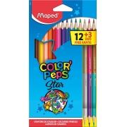 Lápis De Cor 12 Cores Mais 3 Lápis Duo Color Peps Star Maped