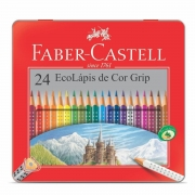 Lápis De Cor  24 Cores Faber Grip Estojo Lata