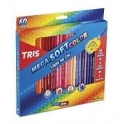 Lápis De Cor 60 Cores Mega Soft Triangular + 1 Apontador Tris