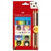 Lápis De Cor Caras E Cores 12 + 6 Tons De Pele Faber Castell