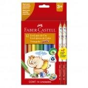 Lápis De Cor Jumbo 12 Cores + 2 Lápis Grafite Faber Castell