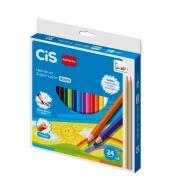 Lápis De Cor Super Color 4mm Com 24 Cores + 2 Lápis Metalizados Cis