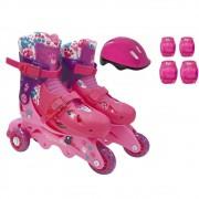 Patins Ajustável Com Acessórios Segurança Barbie 29 A 32 Fun