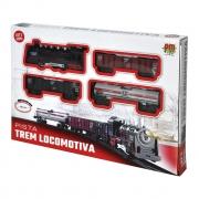 Pista Trem Locomotiva Com Luz E Som DMT5374 Dm Toys