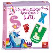 Quebra-Cabeça Abc Unicórnios 52 Peças Em Madeira Brincadeira de Criança