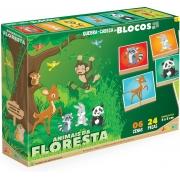 Quebra Cabeça Em Blocos Animais Da Floresta 831 Junges
