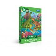 Quebra-Cabeça Metalizado 100 Peças Reino Dos Dinos 2720 Toyster