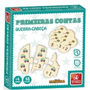 Quebra-Cabeça Primeiras Contas 48 Peças Em Madeira Brincadeira de Criança