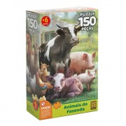 Quebra-Cabeça Puzzle 150 Peças Animais Da Fazenda 03751 Grow
