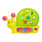 Teclado Infantil Divertido Caracol Com Som E Luz Dm Toys