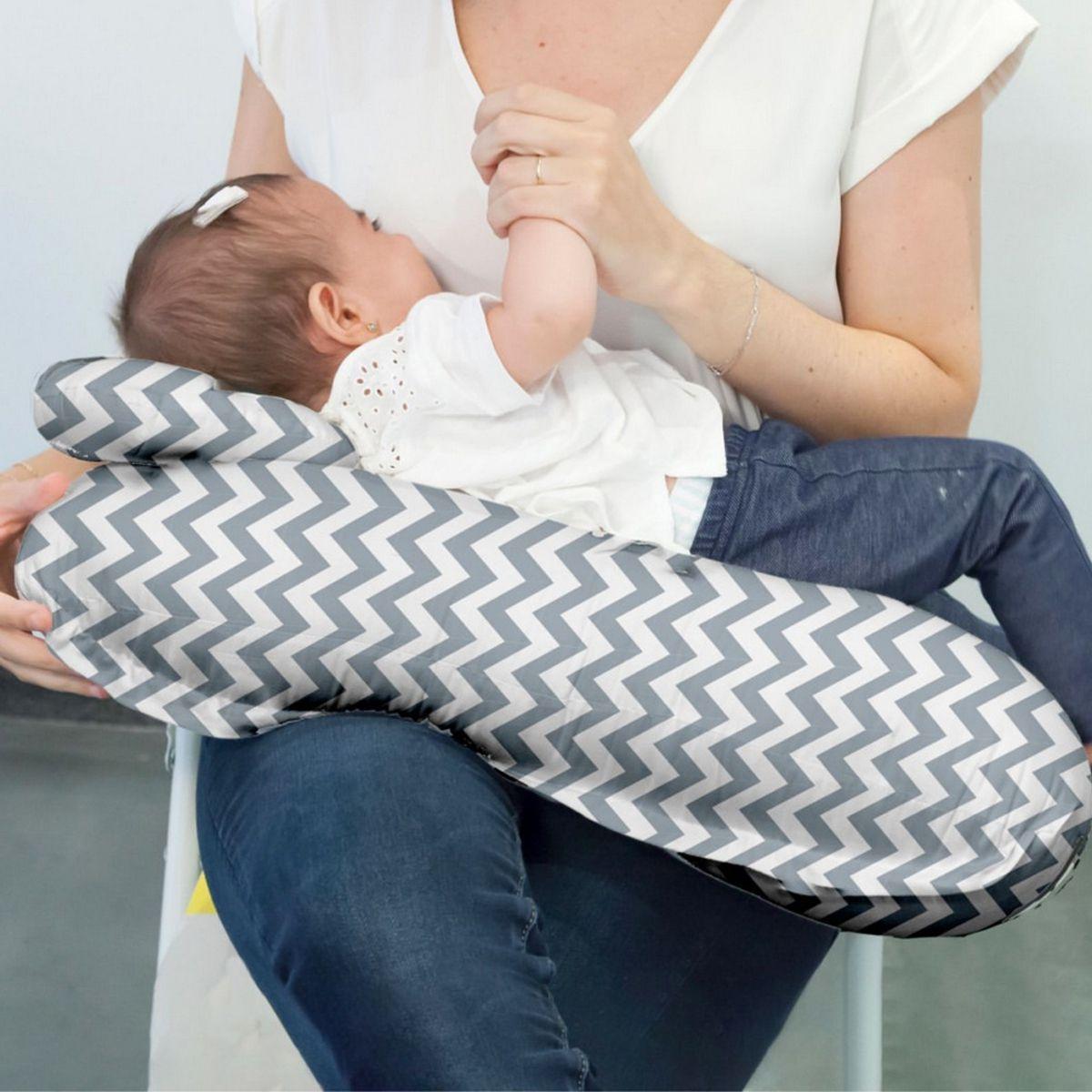 Almofada De Amamentação Com Travesseiro Cinza Buba
