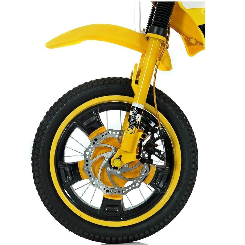 Bicicleta Infantil Aro 16 Bike Moto Amarela 1173 Unitoys