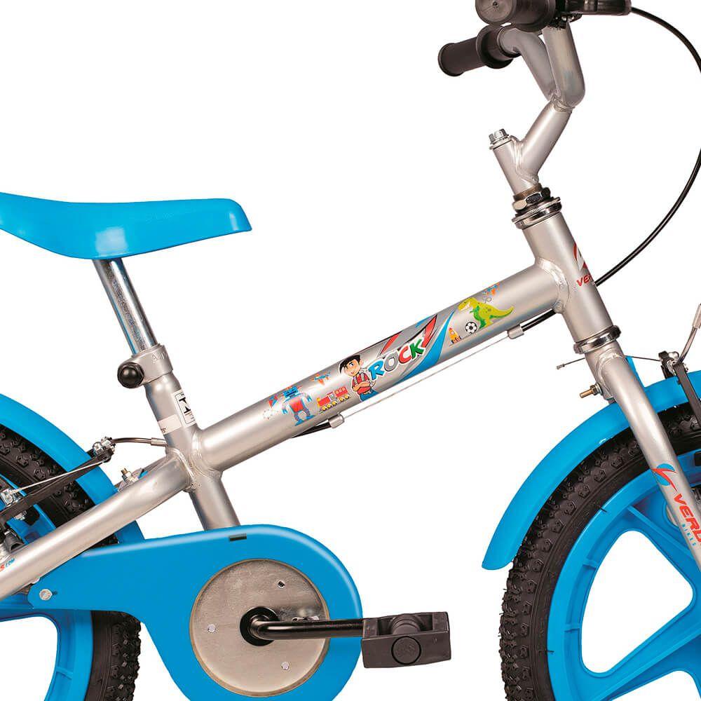 Bicicleta Infantil Aro 16 Rock Prata e Azul 10436 Verden