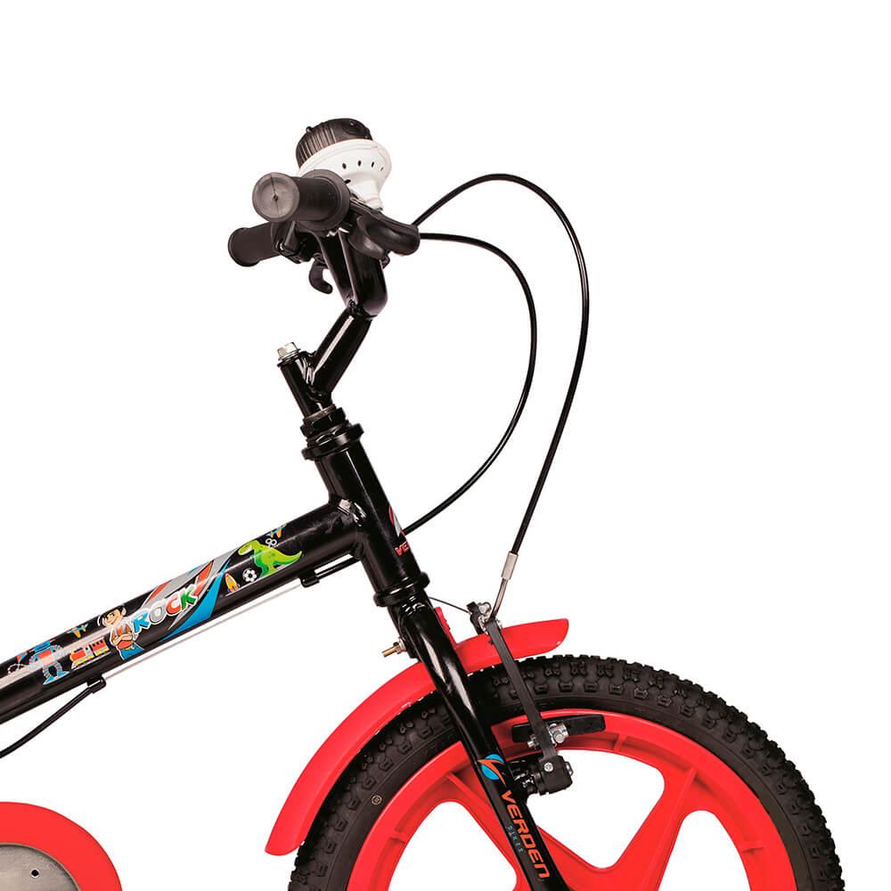Bicicleta Infantil Aro 16 Rock Preto e Vermelho 10362 Verden