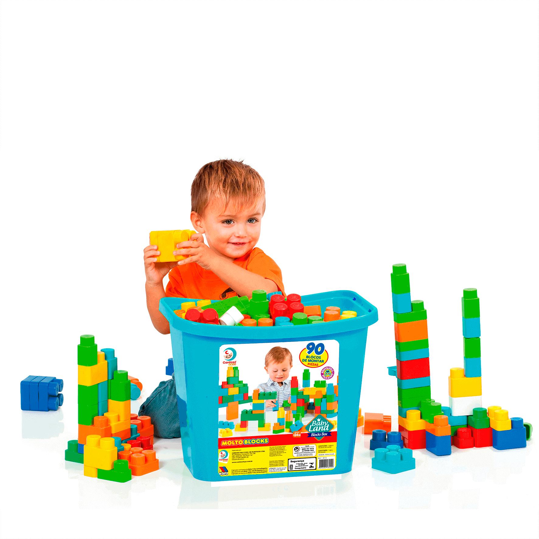 Blocos De Montar Baby Land Block Box 90 Blocos Menino 8012 Cardoso