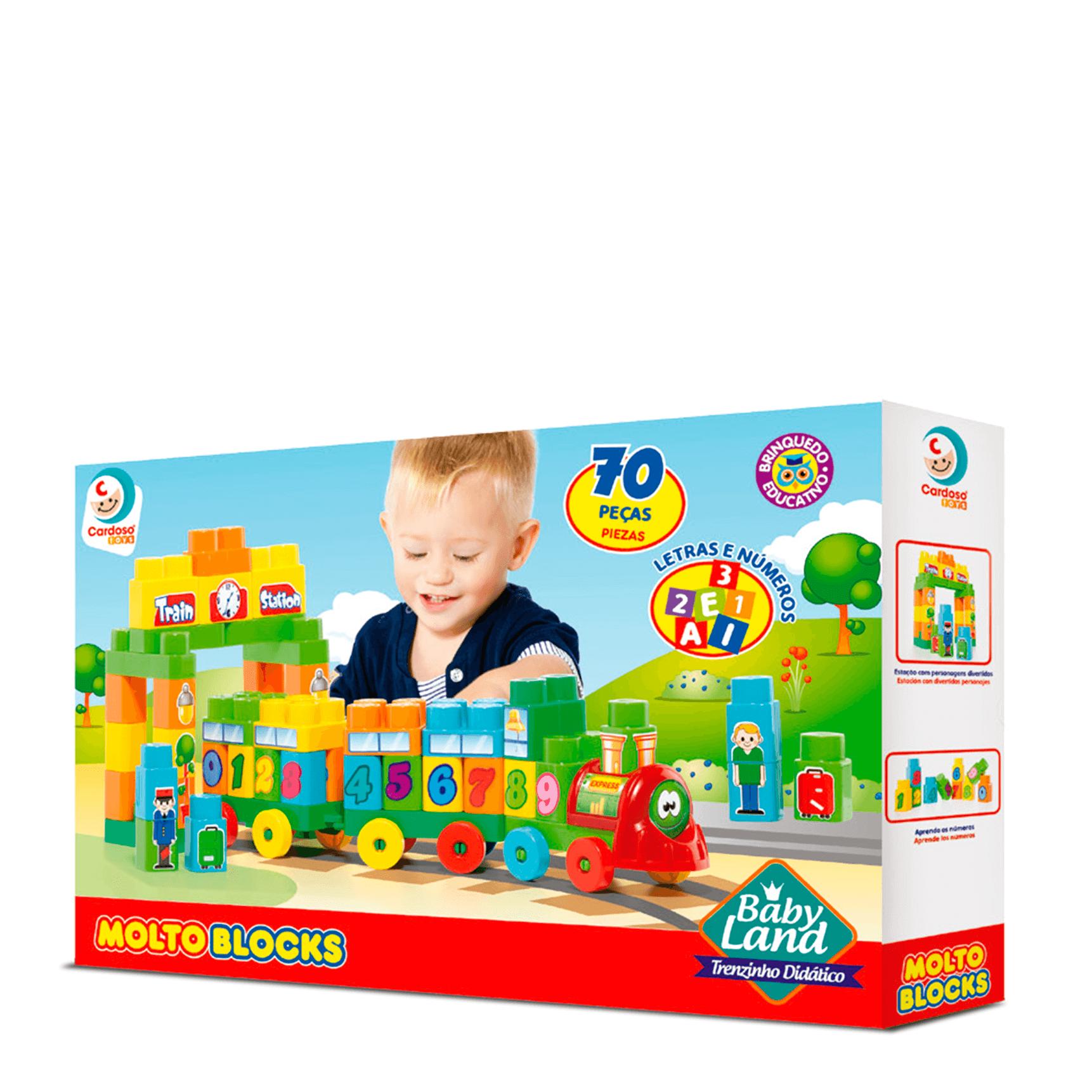 Blocos De Montar Baby Land Trenzinho Didático 70 Peças 8005 Cardoso