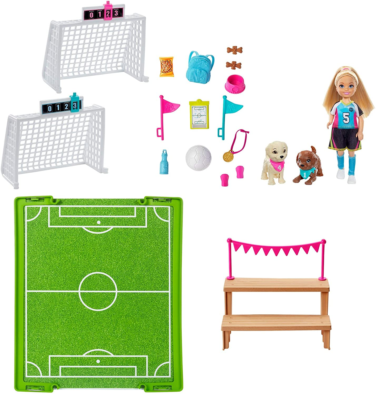 Boneca Barbie Chelsea Futebol Com Cachorrinhos GHK37 Mattel
