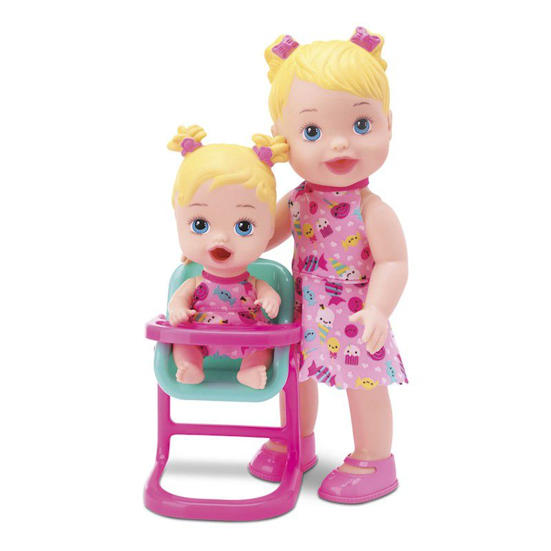 Boneca My Little Collection Hora Da Papinha Loira Com 2 Bonecas 8029 Divertoys