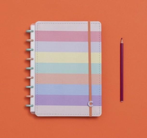 Caderno Arco-íris Pastel Médio Caderno Inteligente