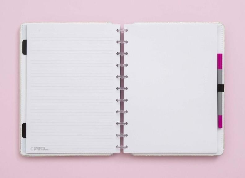 Caderno Rosa Holográfico Grande Caderno Inteligente