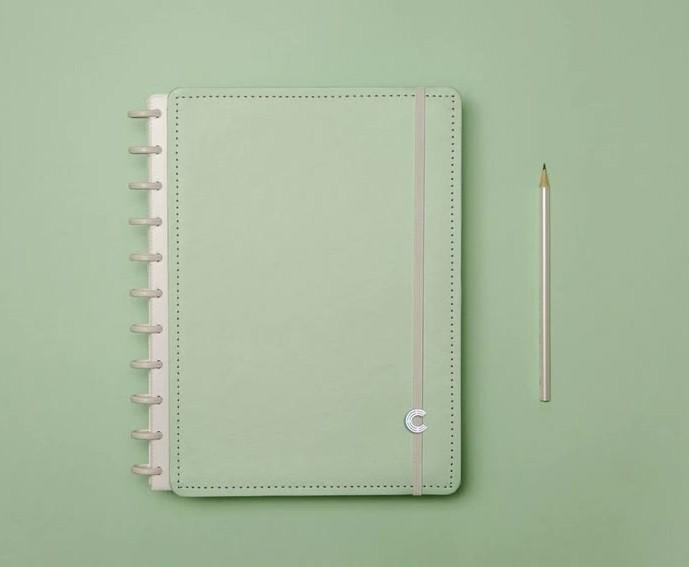 Caderno Verde Pastel Grande Caderno Inteligente