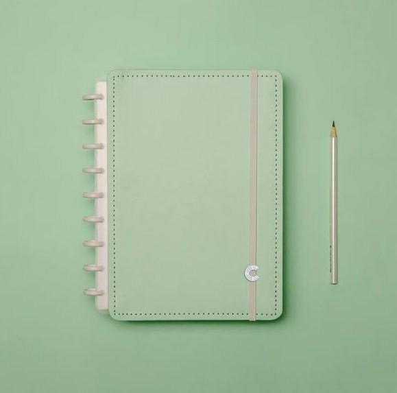 Caderno Verde Pastel Médio Caderno Inteligente