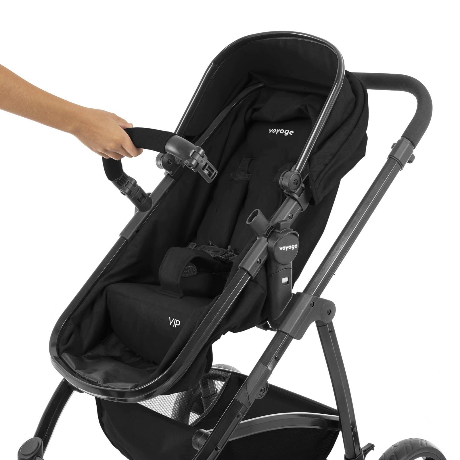 Carrinho De Bebê Berço Passeio e Moisés Vip Preto Voyage