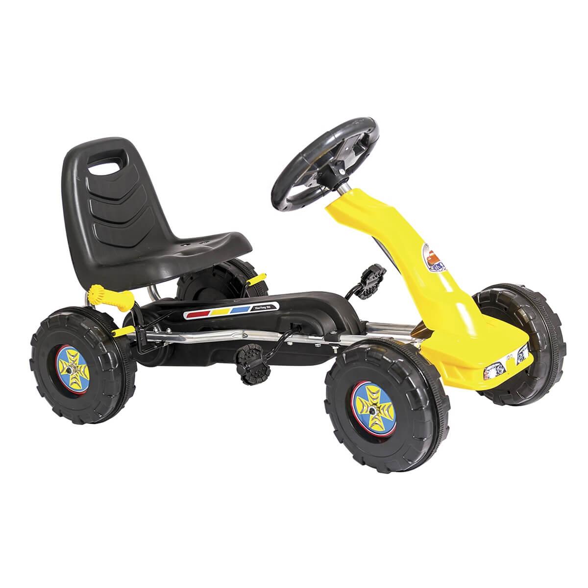 Carrinho Mini Kart Com Pedal Amarelo 1316 Unitoys