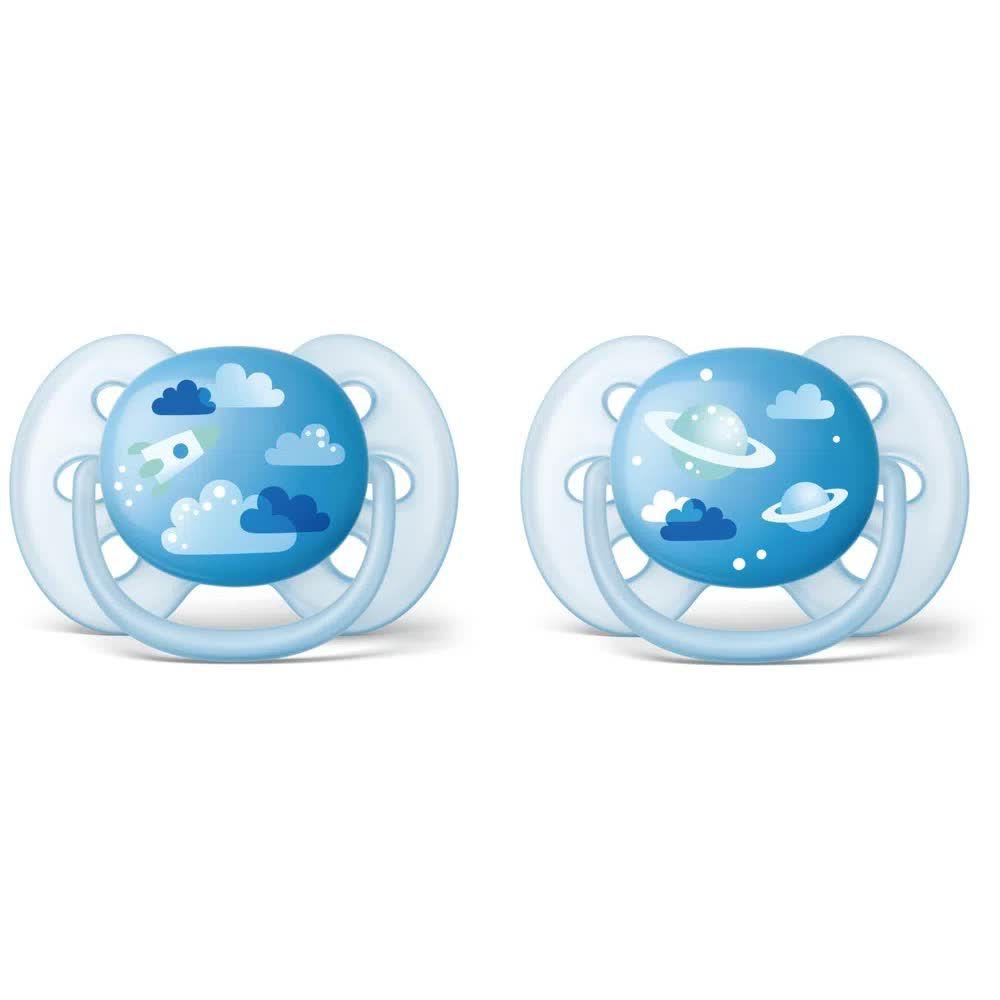 Chupeta Ultra Soft Decorada Tamanho 2 De 6 A 18 Meses Azul Avent
