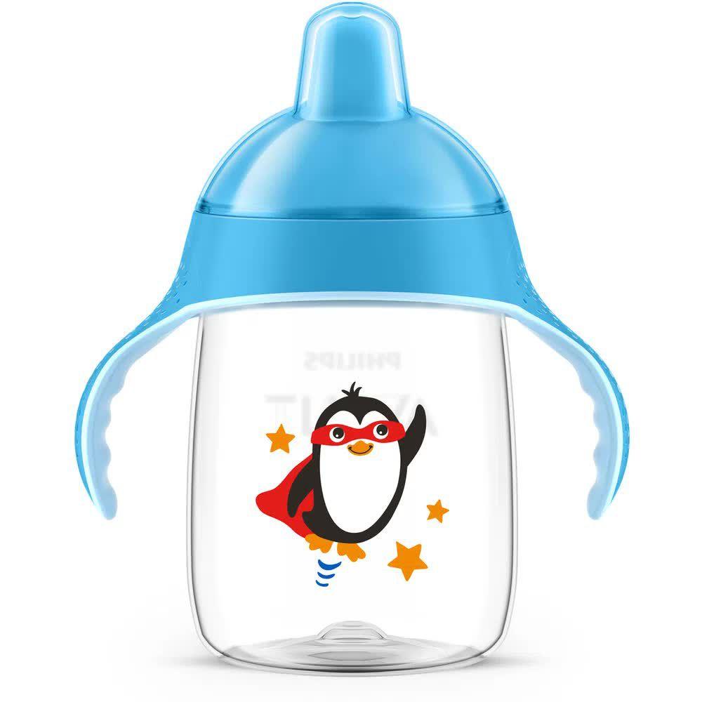 Copo Antivazamento Pinguim Azul 340ml Avent