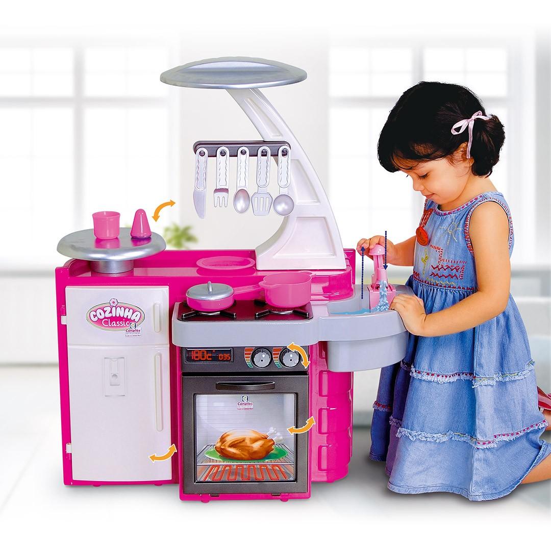 Cozinha Classic Infantil Com Acessórios Rosa 1601 Cotiplás