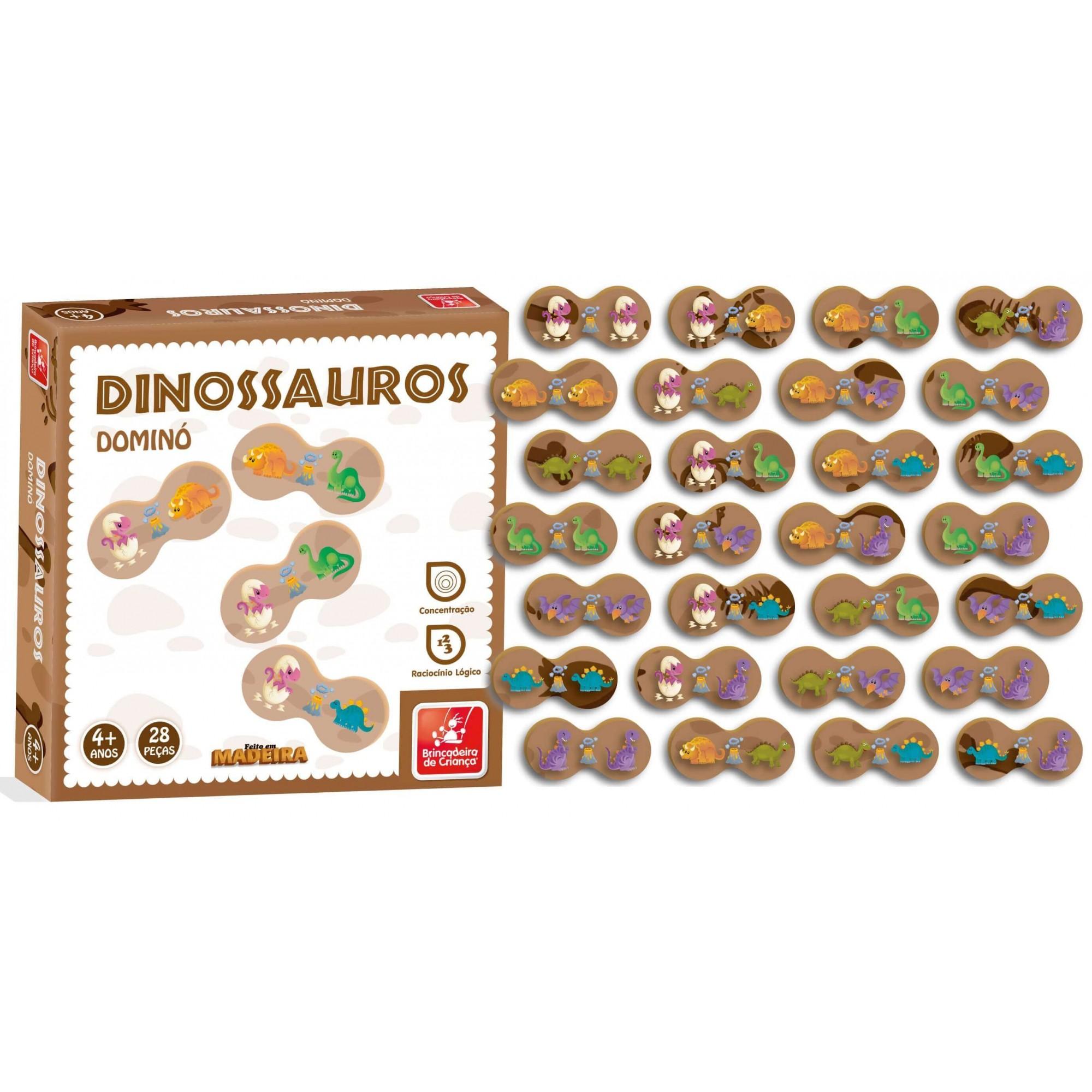 Dominó Dinossauro 28 Peças Em Madeira Brincadeira De Casa