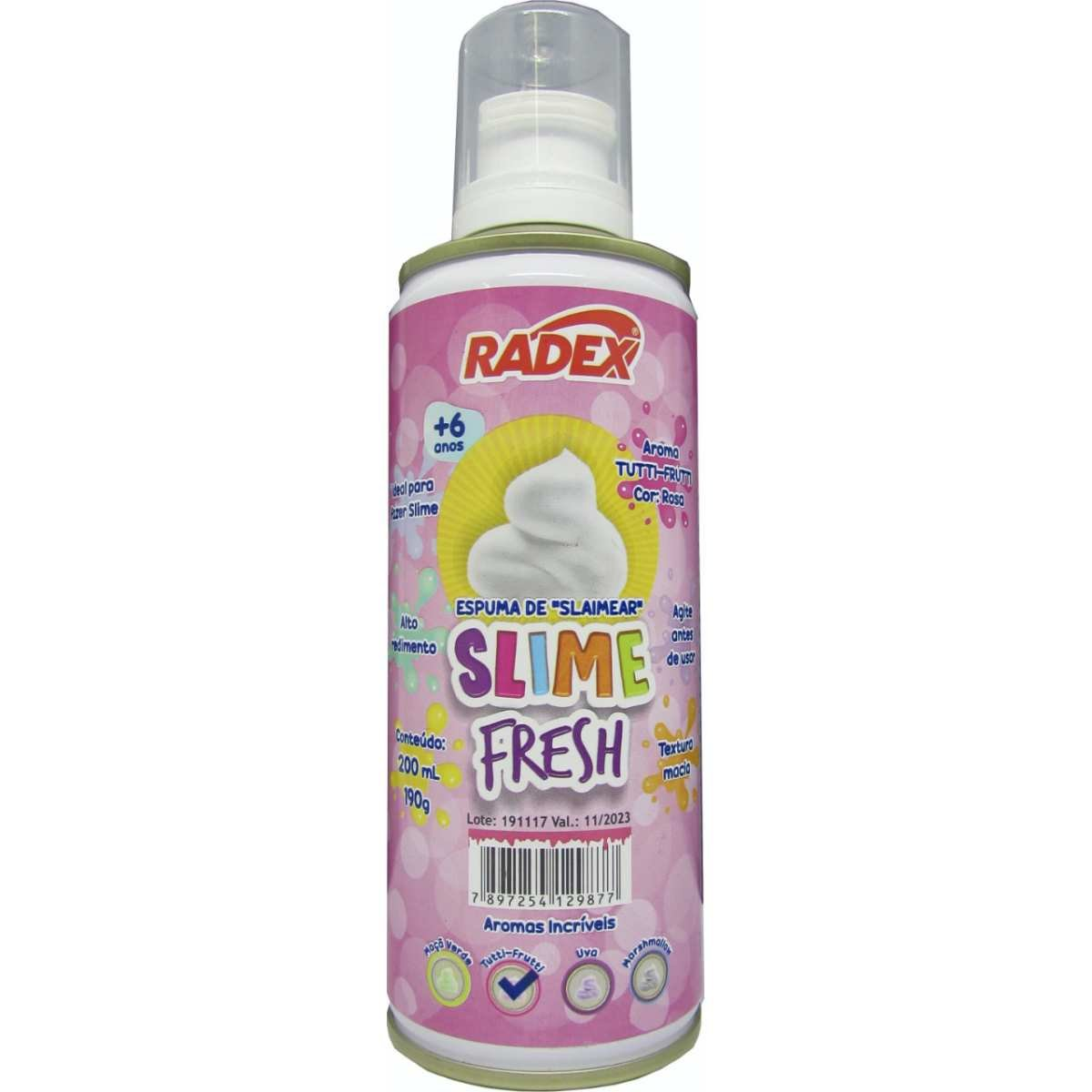 Espuma Slime Fresh 200 Ml Tuti Frutti 8067 Radex
