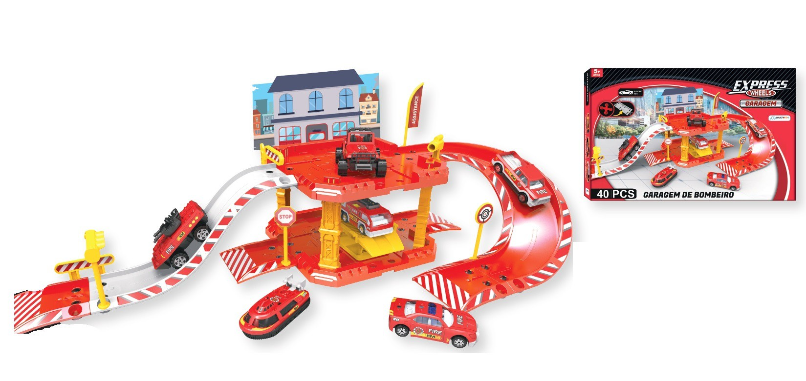 Express Wheels Garagem De Bombeiro 40 Peças BR1235 Multilaser