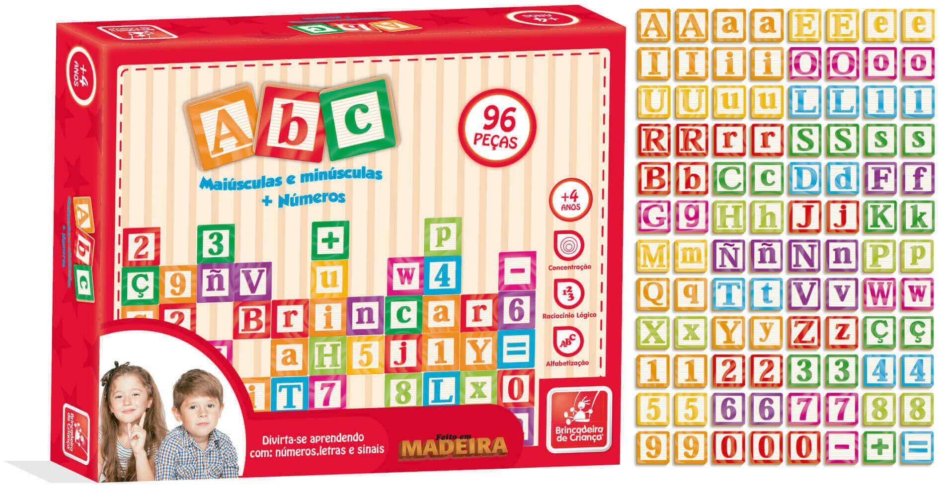 Jogo Abc Maiúsculas E Minúsculas 96 Peças Em Madeira BC