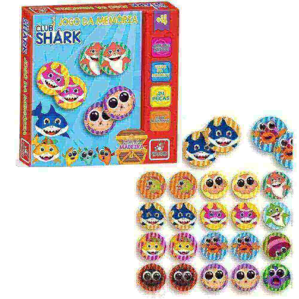Jogo Da Memoria Club Shark Em Madeira Brincadeira De Crianca