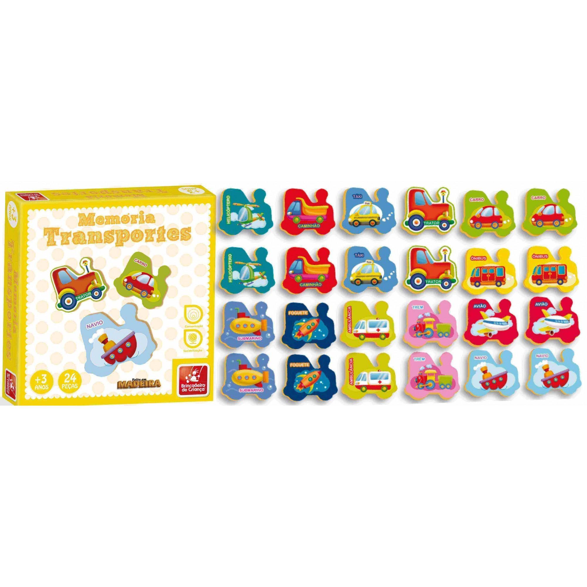 Jogo Da Memória Transportes 24 Peças Em Madeira Brincadeira De Criança