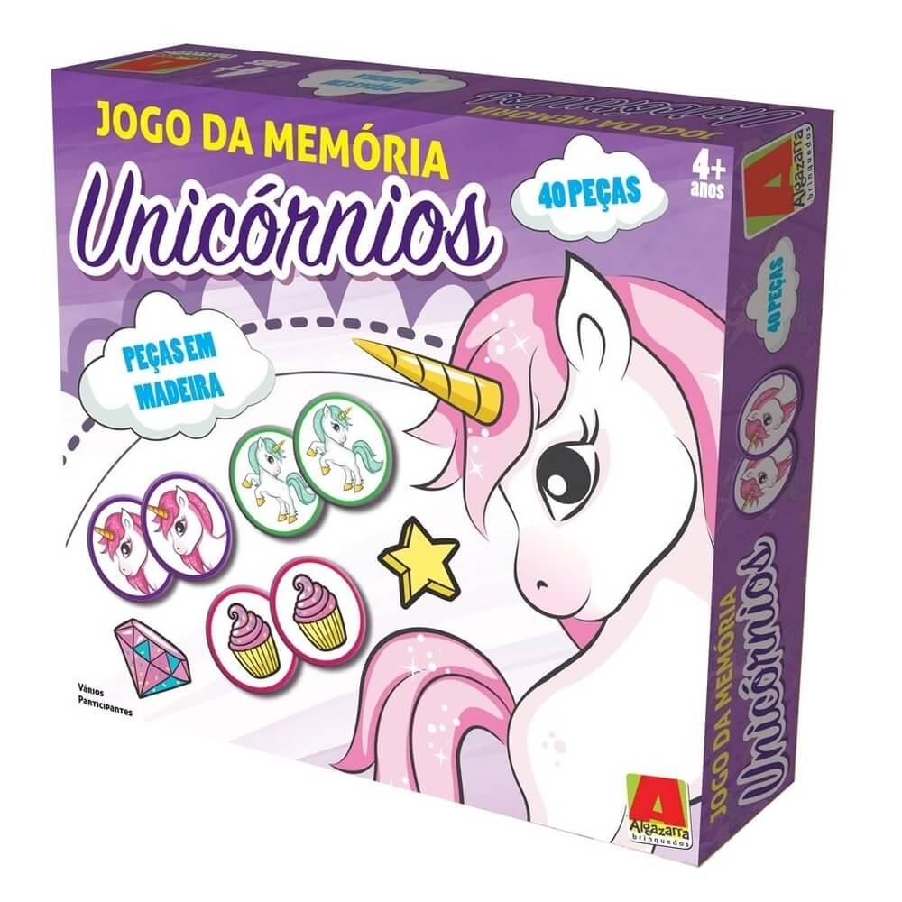 Jogo Da Memoria Unicornio 40 Peças Em Madeira Algazarra